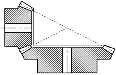 Коническое зубчатое колесо (шестерня) с прямыми зубьями (эскиз)